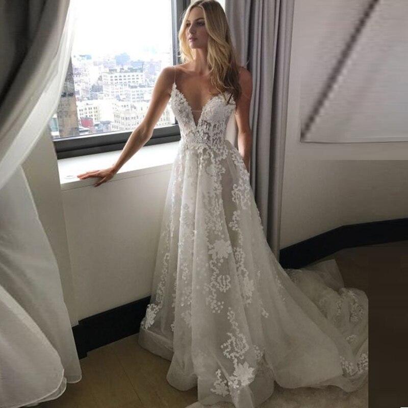 Beach Spaghetti Strap Wedding Gown: Lace Boho Wedding Dresses 2019 Spaghetti Straps V Neck