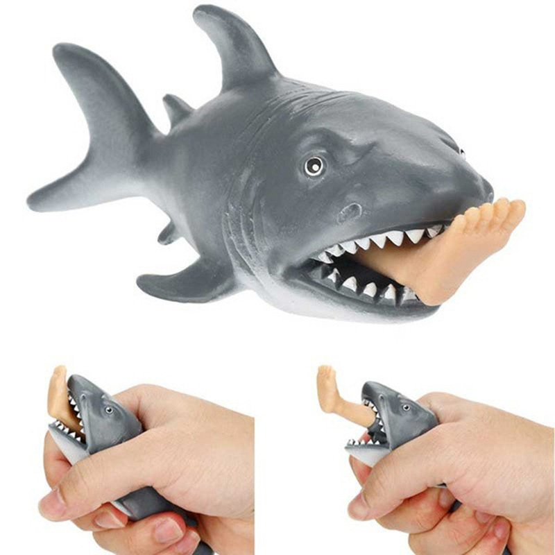 Plastic Creative Anti Stress Squeeze Toys Hungry Shark with Pop Out Surfer Leg Toy Stress Relief Funny Spoof Trick Gift