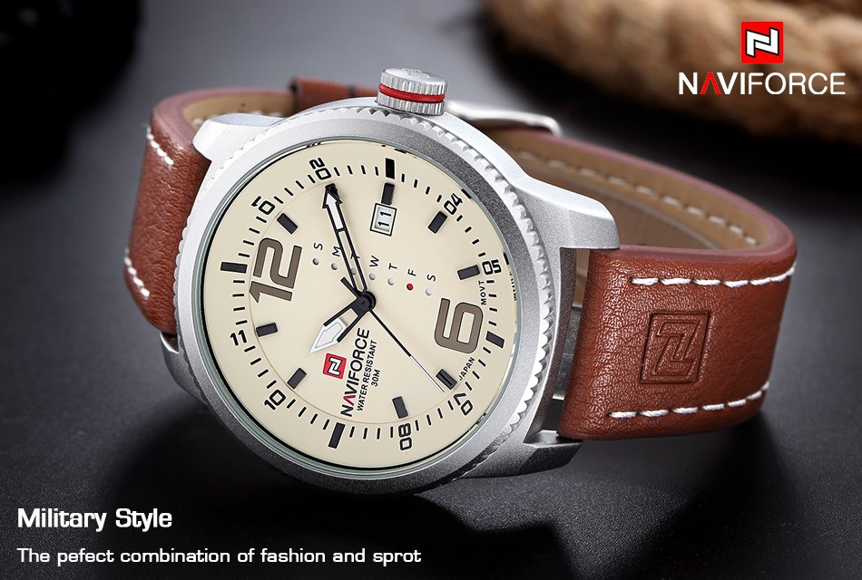 2017 De Luxe Marque NAVIFORCE Hommes Sport Militaire Montres Hommes de Quartz Date Horloge Homme En Cuir Décontractée Montre-Bracelet Relogio Masculino 4