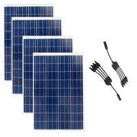 12 В 100 Вт солнечная панель 4 шт. Placas Solares 400 Вт солнечное зарядное устройство 4 в 1 Y Разъем солнечной энергии система автомобиля Caravan автомобиль
