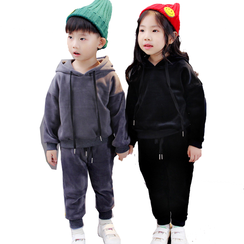 New Spring Baby Toddler Clothes Girls Boys Children Casual Velvet Hoodies Tracksuit Suit For Kids Girls Clothing Suits Sets 3 spring autumn new fashion baby boys girls hoodies sport suit children clothing set toddler casual kids tracksuit set