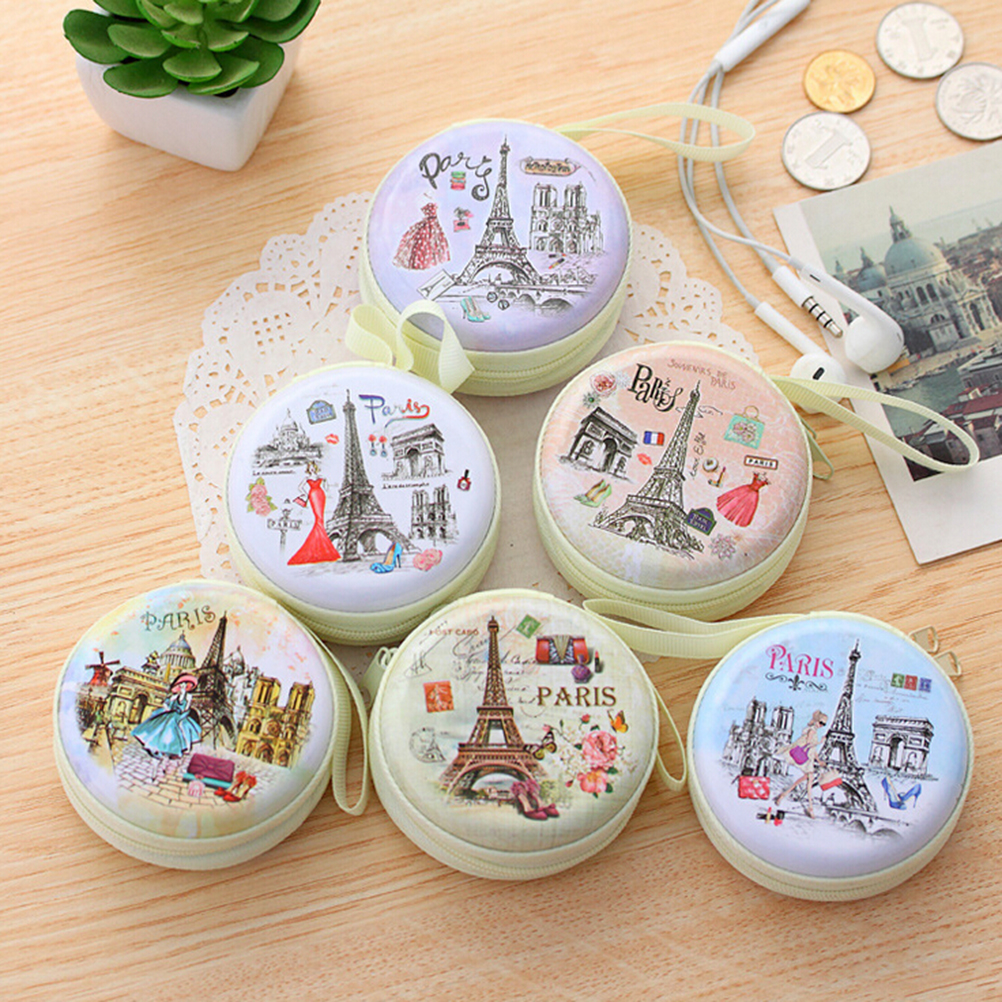 Hot Unisex Women Mini Coin Bag Cute Round Headset Paris Eiffel Zipper Coin Purse Key MIni Wallet Pouch Bag New