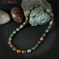 KCALOE Indian Agate Natural Green Stone Choker Necklace Semi-Precious Stones Handmade Jewelry Vintage Necklaces For Women