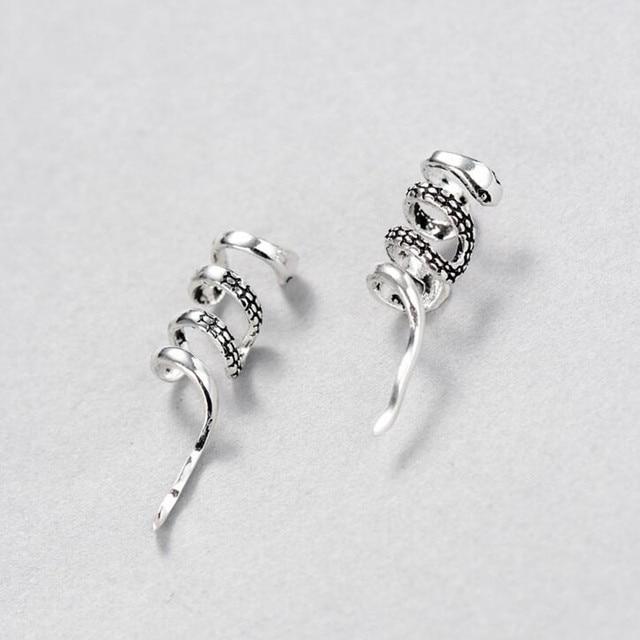 New Original Design Handmade Personality Vintage 925 Sterling Silver Snake Earrings For Women Ear Clip Jewelry