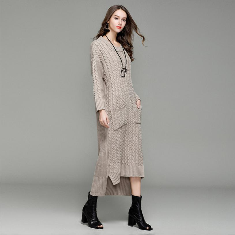 2018 fashion brand new knit sweater fabric dress female elegant retro long dress slim was thin o-neck design pullover dress L865