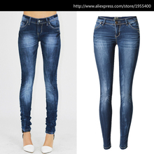 Low Waist Blue Skinny Jeans Women Washed Bleached Scratched Jeans Femme Cotton