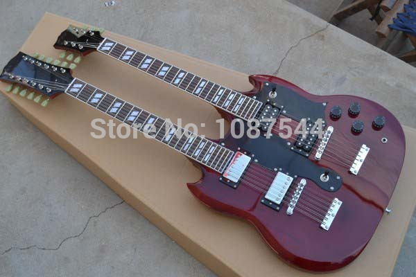 G Custom Shop 1275 Double Neck Led Zeppeli Page Signed Aged red body 12 strings wine red Electric guitar Guitar Wholesale