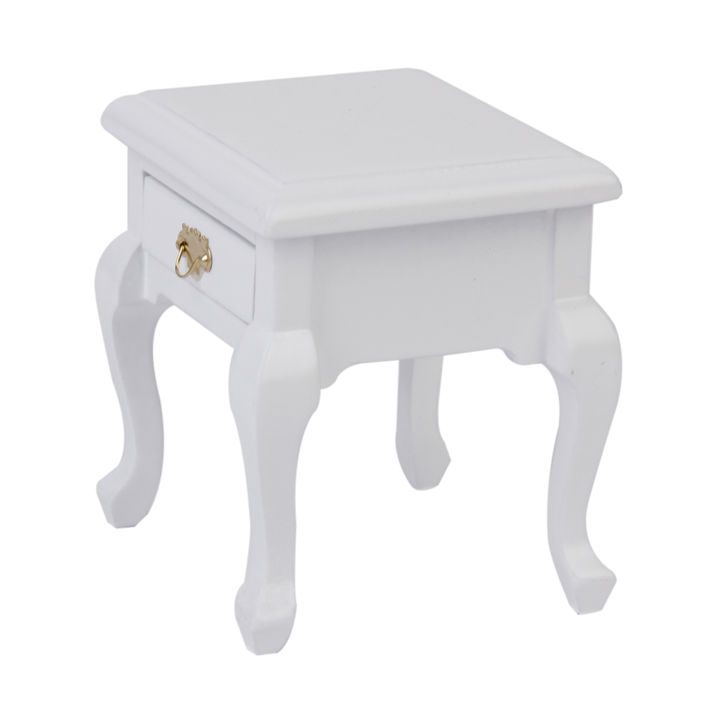 Durable 1/12 Dollhouse Miniature Furniture Wooden Bedside Cabinet White Furniture Toys Modern Bedside Cabinet Toys Accessory