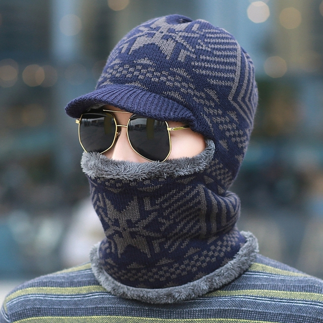 Male pullover one piece hat windproof outdoor ear knitted hat knitted thermal thickening man knitting thermal cap