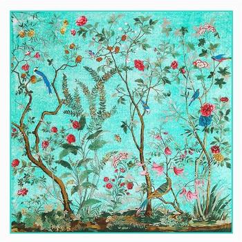 цена на 130cm Square Scarf Brand Silk Scarf Women Singing Birds Fragrant Flowers Print Scarf For Ladies Bandana,Twill Shawl