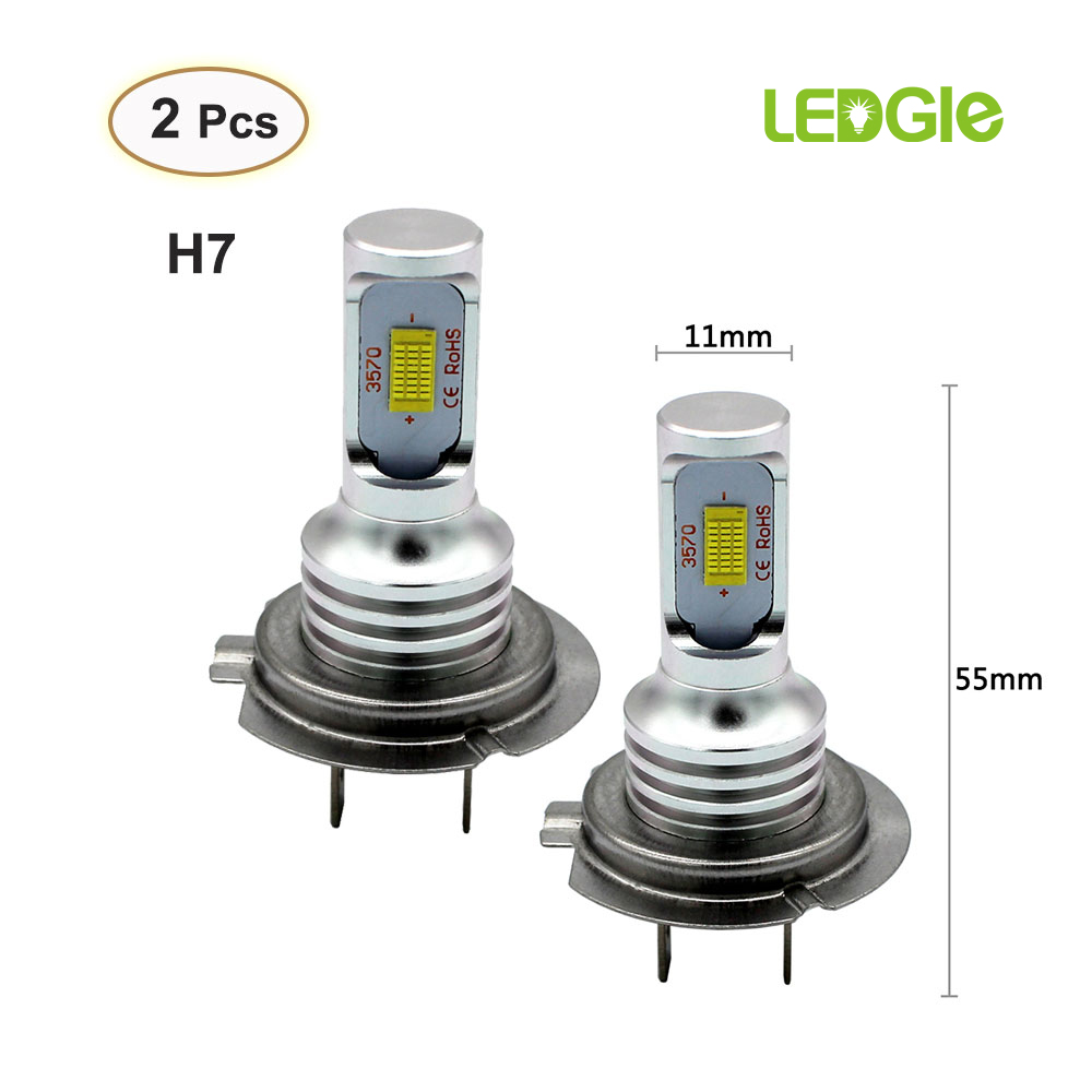 LEDGLE 2Pcs 80W H7 Led Light 9-32V CSP3570 LED Fog Canbus Driving Lights IP65 3000K 6500K Bright Lamp For H7 Beam Bulb Fog Lamp
