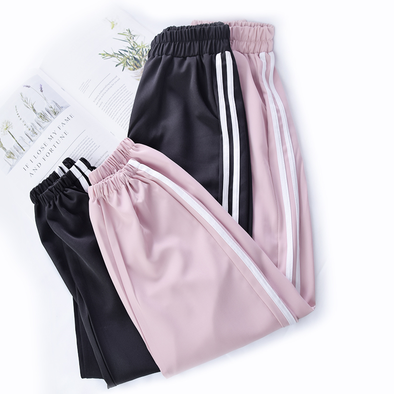 NEW Casual Running Exercise Pants Dance Female Side Lines Sweatpants Sports Women Trousers Fitness Loose Harem Pants Cool Pants