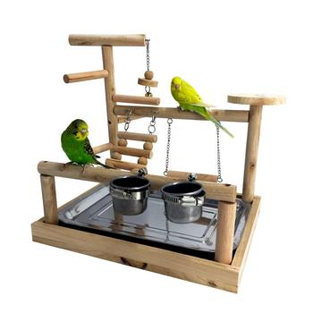Parrots Playstand Bird Playground Wood Perch Gym Stand Playpen Bird Ladders Exercise Playgym with Feeder Cups Exercise Toy