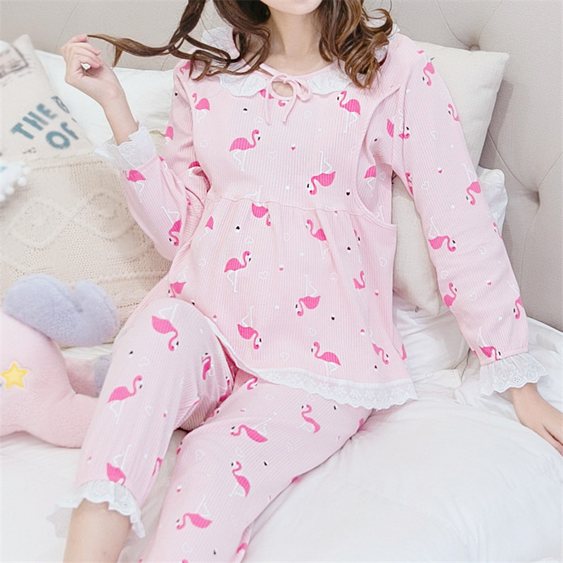 Бренд Весна-осень для беременных 100% хлопок розовый корейский принт кормление грудью ночное лактации пижамы одежда, бесплатная доставка