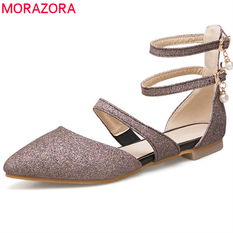 MORAZORA 2018 new style fashion sequined cloth flat shoes women pointed toe summer shoes simple buckle comfortable casual shoes women s shoes 2017 summer new fashion footwear women s air network flat shoes breathable comfortable casual shoes jdt103