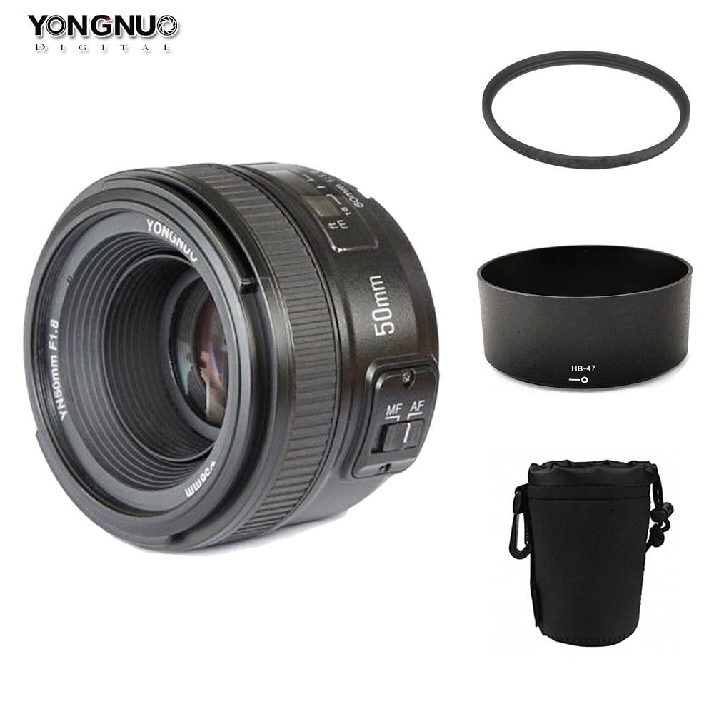 YONGNUO YN 50mm YN50mm f/1.8 AF objectif + pare-soleil + 58mm filtre UV + étui Set mise au point automatique pour les appareils photo Nikon AF-S 50mm 1.8G