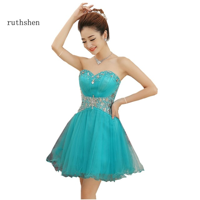 bf5614cc1 Ruthshen corto vestidos De baile barato 2018 turquesa adolescentes Formal  Homecoming Vestido De fiesta Bling Vestido