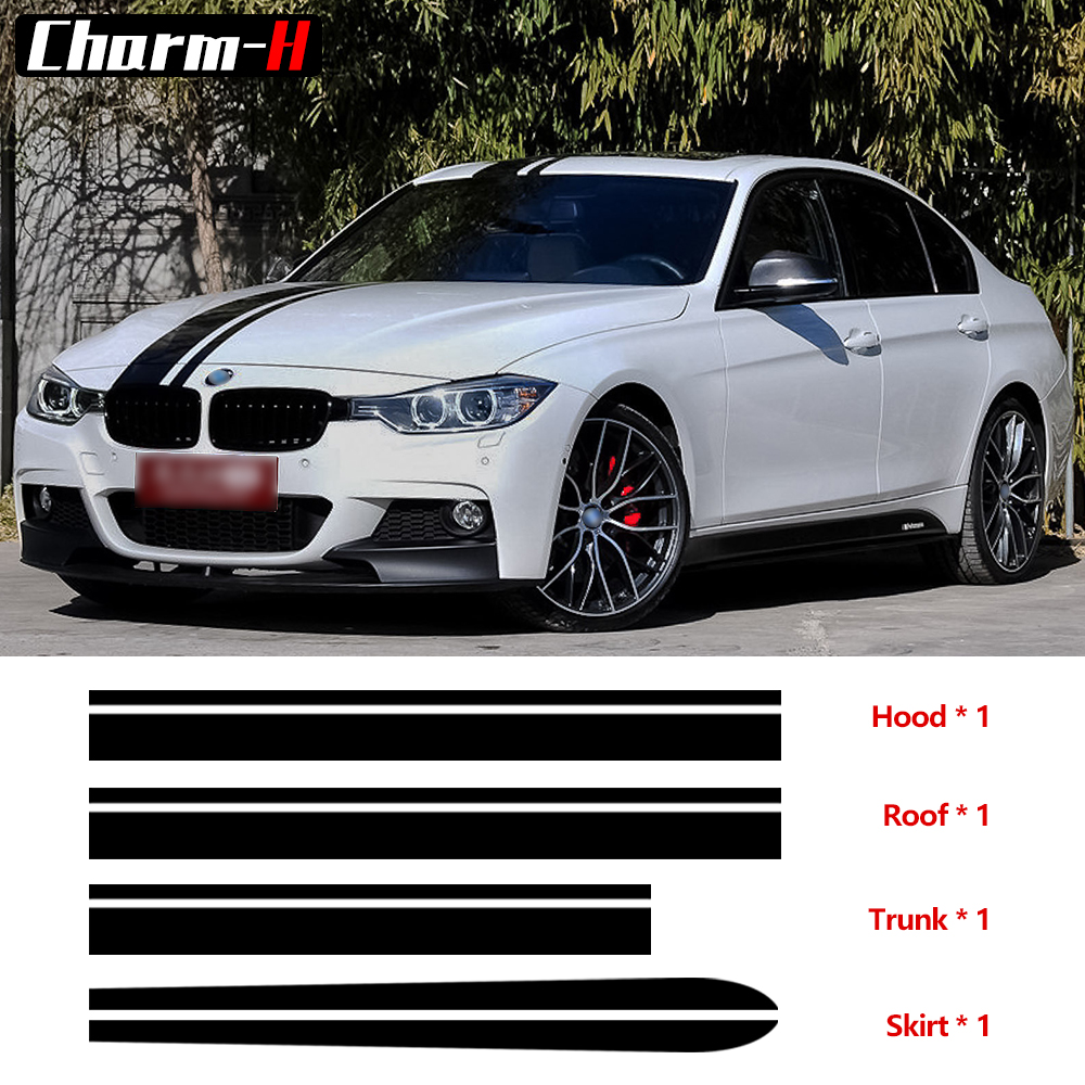 Car Styling Black Hood Roof Trunk Bonnet Side Skirt Stripe Decal Stickers for BMW F30 E90 E92 E93 M Performance Accessories button side stripe pencil skirt
