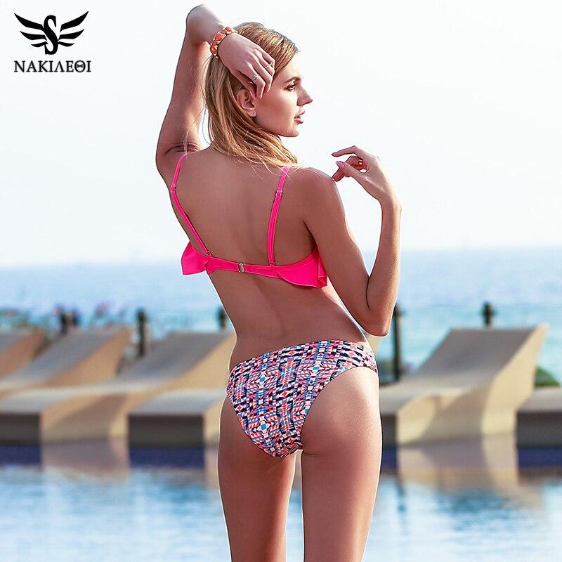 NAKIAEOI 2018 New Sexy Bikinis Women Swimsuit Push Up Swimwear Bandage Print Brazilian Bikini Set Ruffle Bathing Suits Swim Wear 3