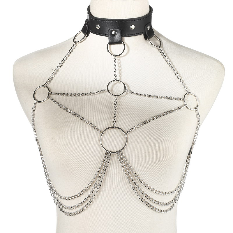 Faux Leather Harness body chain women Goth Beach Bra Chain Fashion Sexy lingerie festival Jewelry Accessories