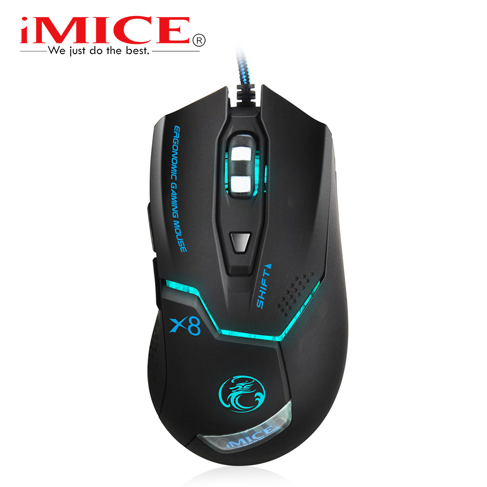 Imice Wired Gaming mouse Professional Game Mouse 3200dpi USB Optical Mouse 6 Buttons Computer Mouse Gamer Mice For PC Laptop X8 fc 5150 usb wired 800 1600 2400 3200dpi optical gaming mouse black