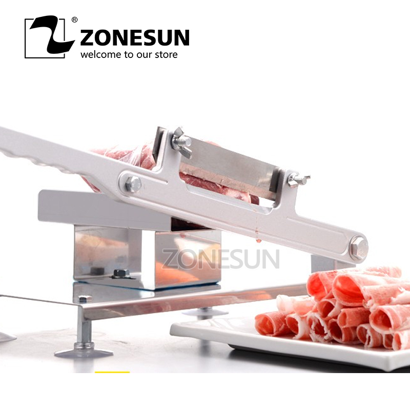ZONESUN Alloy Steel Manual Frozen Meat Slicer Handle Meat Cutting Machine Vegetable Slicing Machine Mutton Rolls Machine free shipping ht 4 commercial manual tomato slicer onion slicing cutter machine vegetable cutting machine