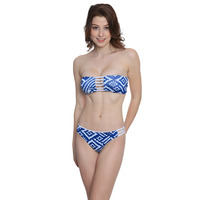 2015 Women Sexy Swimsuit Bandeau Push Up Bikini Set Reversible Print Swimwear Brazilian Strapless Padded Bra