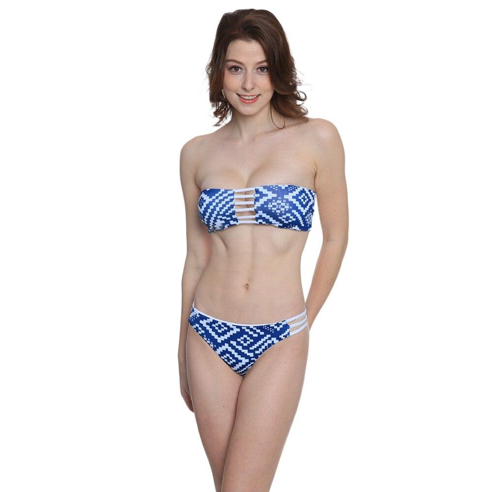 P&j 2018 Sexy Swimsuit Bandeau Push Up Bikini Set Reversible Print Swimwear Brazilian Strapless Padded Bra Beach Bathing Suits