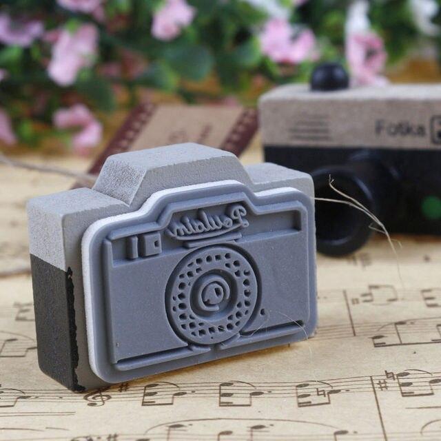 Detalles sobre nueva cámara Retro Vintage estilo scrapbooking DIY sello de goma sello Stamper gadge