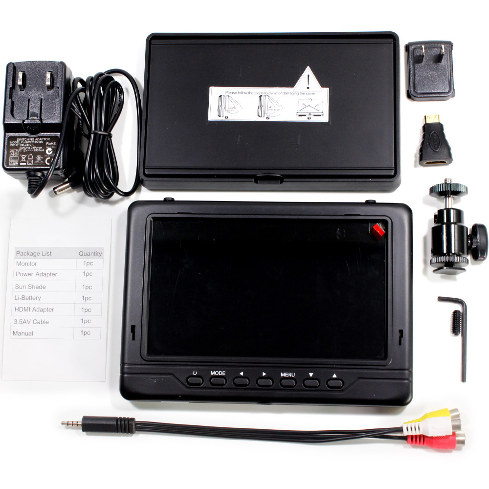 FPV monitor 7 LCD 1024x600 HD TFT Snowflakes Screen receiver Built-in Battery