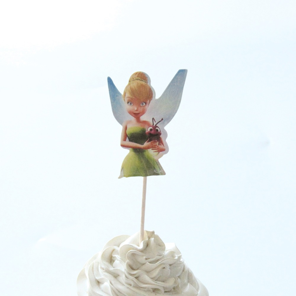 24 pcs/lot Cartoon tinkerbell Cupcake Topper Birthday Party Supplies ...