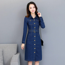 Korean woman Casual Long sleeves Denim Dress Vintage Jeans Dresses Female Autumn turn-down collar cowboy Midi Vestidos