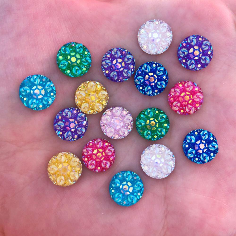 New 50pcs 10mm Resin Round 3D Flower Flatback Rhinestone Wedding Buttons DIY  R43 1263aa3c5e0f