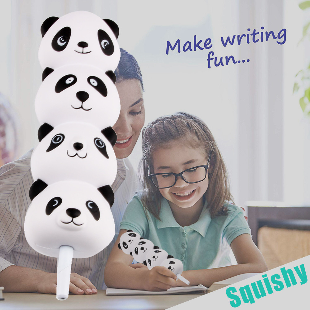 Squishy Pencil Sleeves Cute Panda Dolls Squishies Slow Rising Pencil Toppers Grip Fruit Scented Stress Relief Toy Ball Pen Gift