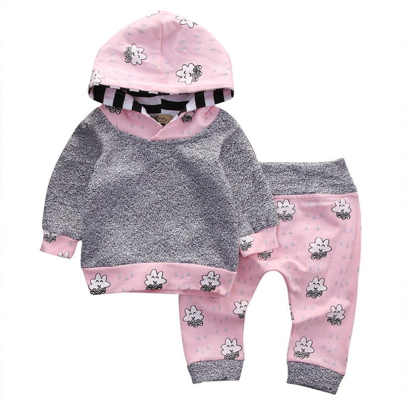 2pcs Newborn Baby Girl Clothes Pink Cute Smile Cloud Bebes Hooded Top Pant 2018 Hot Autumn Winter Suit Bebek Giyim Clothing Set 2016 newborn baby girl clothes new year cute long sleeve cotton t shirt pant headwear 3pcs bebes clothing set 0 24m