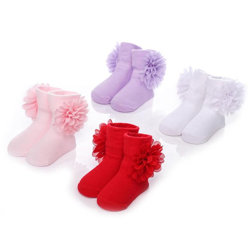 Toddlers Infants Newborn Ankle Socks Baby Girls Cotton Princess Flowers Socks Gift Baby Socks for Baby Steps 0-12Months