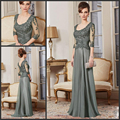 2016 Elegant Mother Of The Bride Dresses 3/4 Sleeves Gray Lace Long Brides Mother Dresses For Weddings