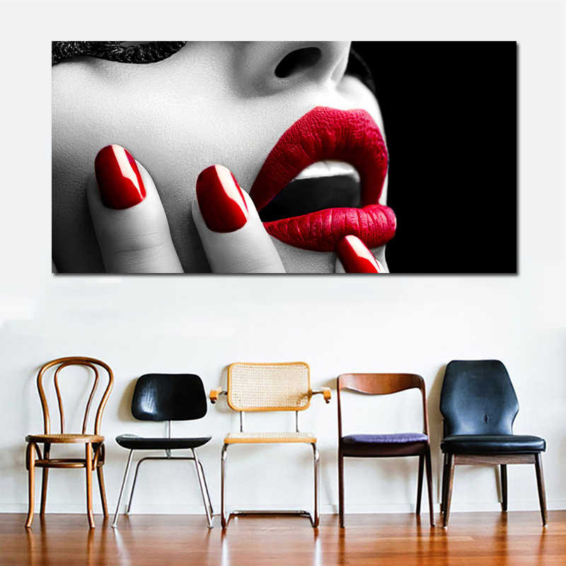 SELFLESSLY Modern Wall Canvas Poster Prints Sexy Women Red Lips and Nails Canvas Wall Painting Pictures Home Decor Unframed