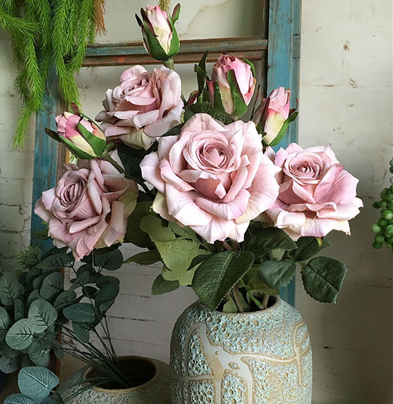 NEW Beautiful Roses Branch Fleur Silk Artificial Flowers Wedding Decoration Rose Flores Artificiales Fake Flowers