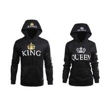 2019 KING Queen Hoodies Crown Print Unisex Men Women Spring Sweatshirt for Couple Lovers Winter Letter Hooded Pullovers