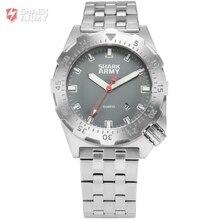 Shark Ejército Metal Plateado Reloj de Pulsera 100 m Resistente Al Agua Natación Deporte Pulseira masculina Militar de Cuarzo Wriswatch/SAW187