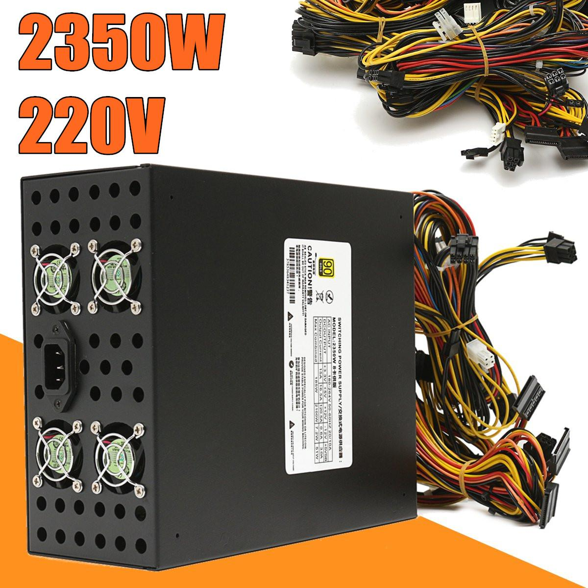 Mining Full Module Output Rated 2350W 220V Power Supply High Efficiency with 8 CPU Fit for All Kind of Bitcoin Mining Machine PC 2018 high efficiency rated 2200w power supply with emc with dual 8cm low noise cooling fans for bitcoin mining machine
