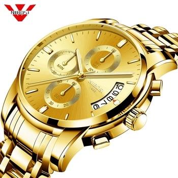 Reloj NIBOSI dorado para hombre, reloj de cuarzo para hombre, reloj deportivo resistente al agua de lujo