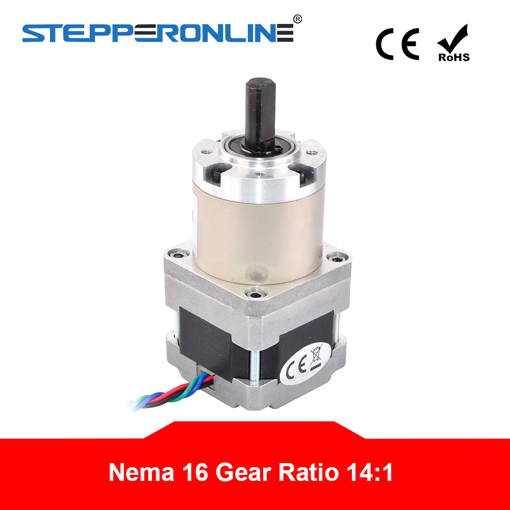 4 lead Nema 16 Gear Stepper Motor Bipolar Gear Ratio 14:1 0.6A with Planetary Gearbox 3D Printer CNC Robot