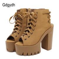 Gdgydh Autumn Peep Toe Women Pumps Cross Tied Rubber Sole High Heel Ladies Shoe Slingbacks Dress Office Platform Shoes Woman