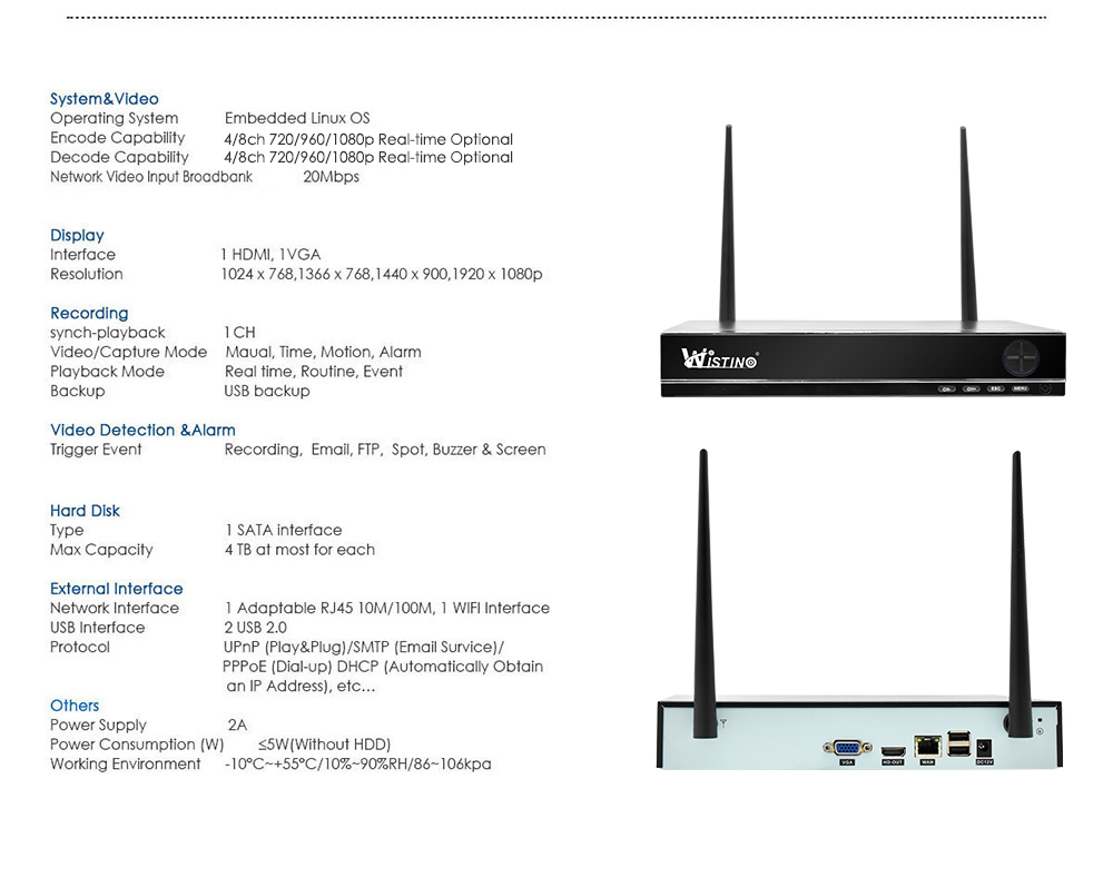 Wistino XMEye 4CH Wireless NVR Kit Outdoor HD 720P Wifi CCTV Camera System Security IP Camera Waterproof Wireless Surveillance Kit (13)