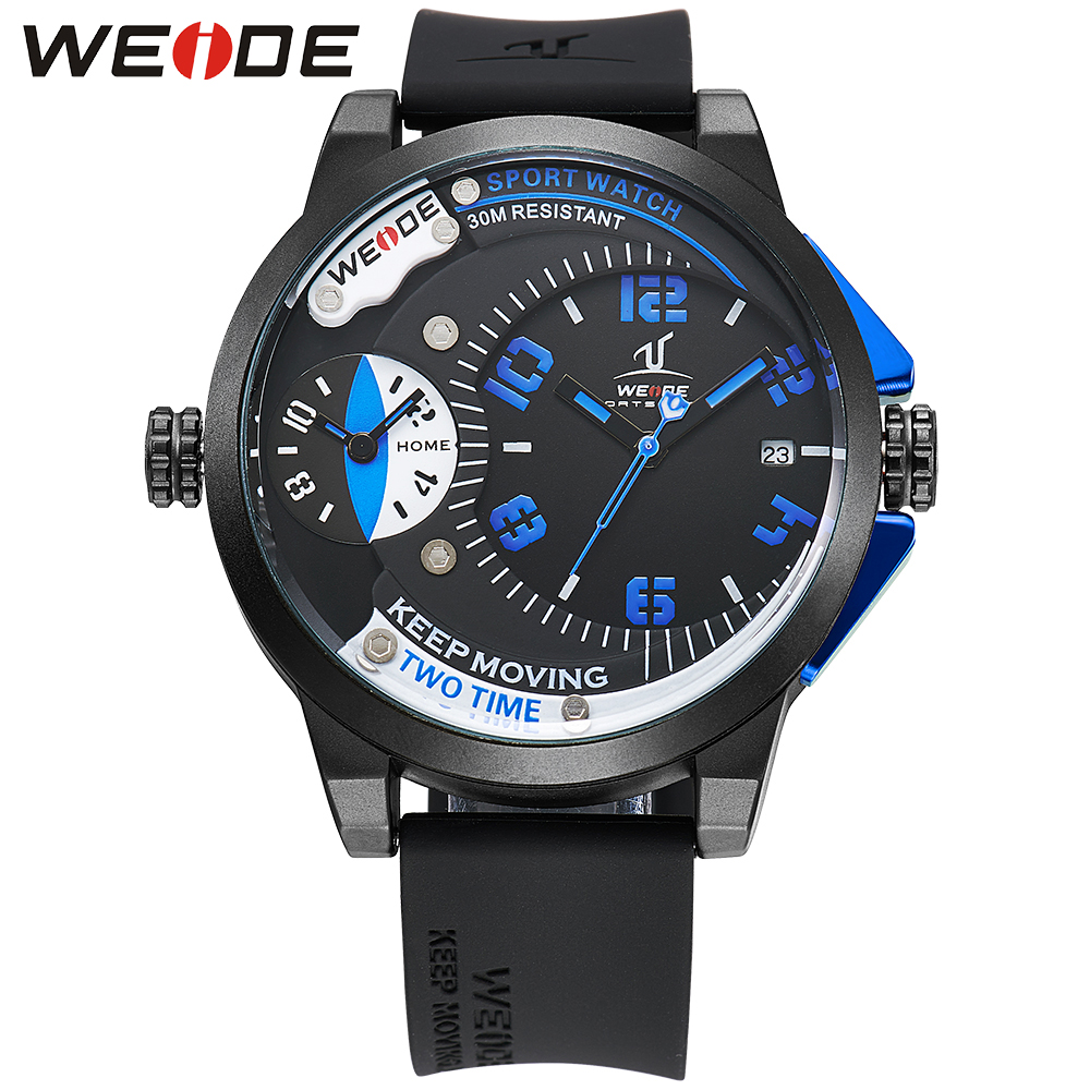 ФОТО WEIDE Brand Men Digital Dual Time Watch Stainless Steel Back Big Black Dial 30M Waterproof Silicone Strap Watches Original Gifts