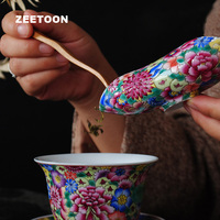 Jingdezhen Boutiques Famille Rose Porcelain Flowers Tea Scoops spoon Teaspoon China Kung Fu Tea Set Cha He Creative Home Decor