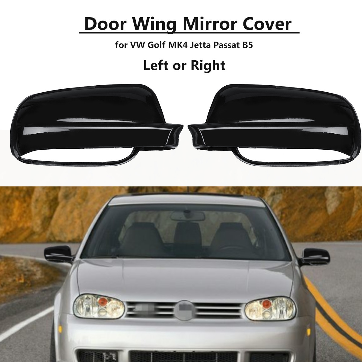 Gloss Black Wing Mirror Cover Cup Left/Right For VW Jetta Bora Golf Mk4 Polo Passat B5 1996 1999 2000 2001 2002 2003 2004|Side Mirror Folding Kit| |  - title=