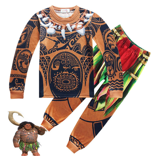 5245c68d349ba Cosplay D été Enfant Garçon Costume Moana Maui Toddler Enfants Vêtements  Ensemble bande dessinée Vaiana